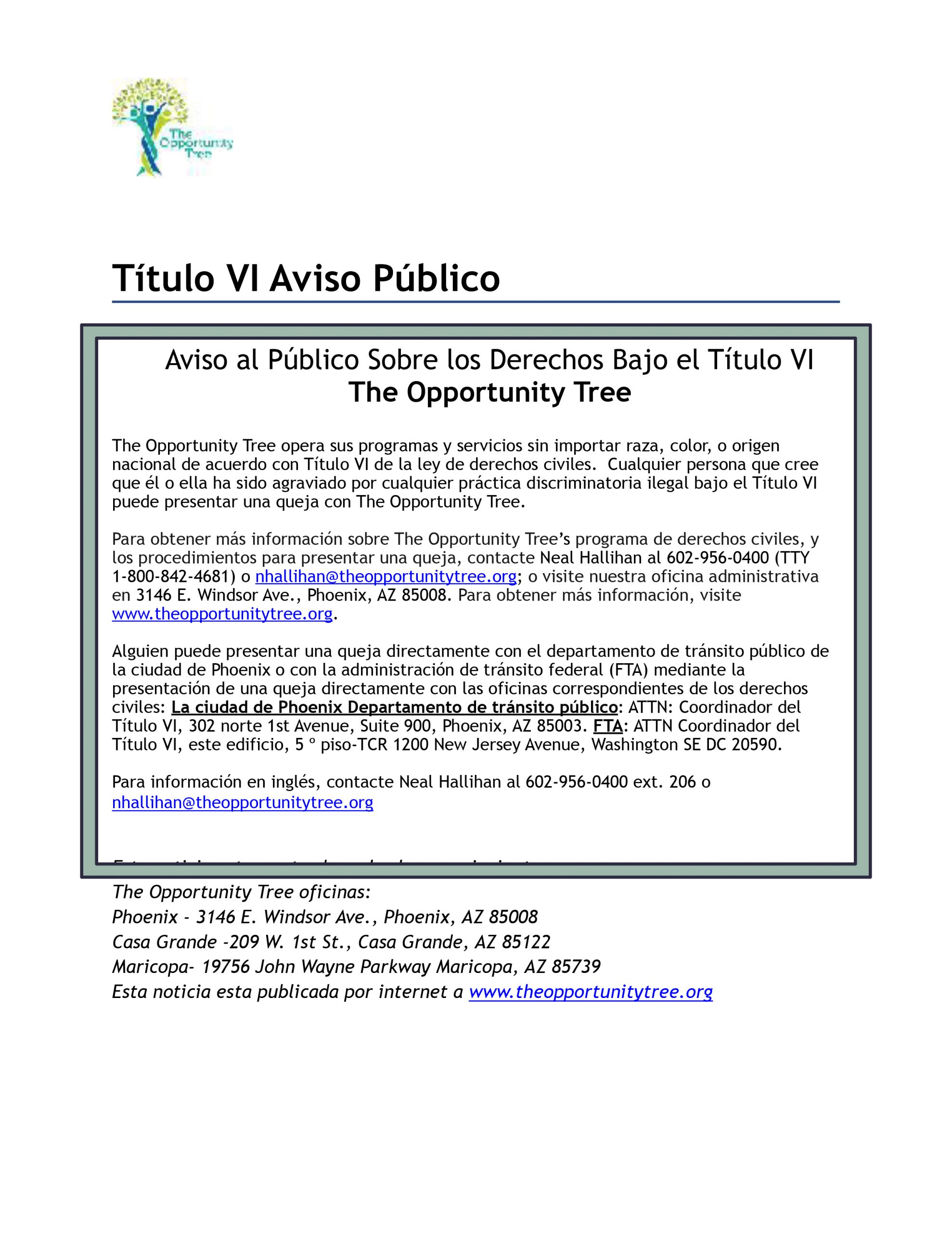 1-The Opportunity Tree Title VI Public Notice-Spanish